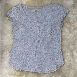Grey Hollister Short Sleeve Henley T-Shirt